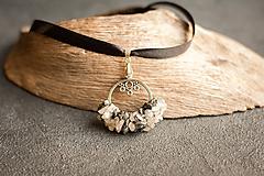 Náhrdelníky - pletený prívesok z krištáľu s turmalínom - 10236392_