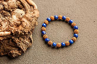Náramky - náramok rudraksha, lapis lazuli - 10237212_