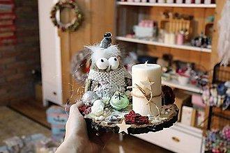 Dekorácie - nádherný jemný svietnik (sova) - 10235106_