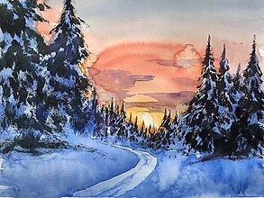 Obrazy - Západ slnka v lese - obraz - 10236231_