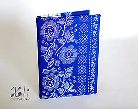 Papiernictvo - Modrý obal s folklórnou bordúrou (Modrý) - 10237054_