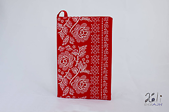 Papiernictvo - Modrý obal s folklórnou bordúrou (Červený) - 10237066_