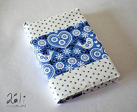 Papiernictvo - Srdiečka a vtáčiky na modrom podklade II. (Modrý) - 10237081_