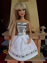 Hračky - Folk sukňa biela pre Barbie - 10236412_