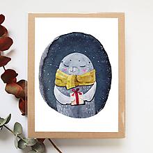 Obrázky - Obrázok s tuleňom, vianočný tuleň - 10236399_