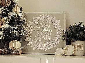 """Dekorácie - venček """"Holly Jolly"""" - vyrezávaný papier v rámiku (Zlatá) - 10238416_"""