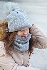 Čiapky - Hrejivý zimný set Vrkoče sivá svetlá - 10238312_