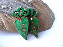 Náušnice - zeleno-červené folk náušnice II - 10236980_