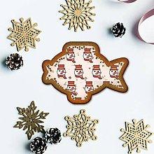 Dekorácie - Vianočné grafické perníky so vzorom stracciatella - snehuliačik (iba hlava) - 10235249_