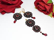 Sady šperkov - Šitá sada náušníc a prívesku, Swarovski, Pozlátené zapínanie Ag925, Červená/Čierna - 10240516_