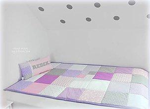 Úžitkový textil - Prehoz bez aplikacii 120x205cm/bielo-sedo-fialový - 10240210_