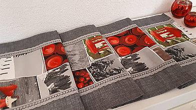 Úžitkový textil - Stredový Vianočný obrus  (Zasnežená krajinka) - 10241907_