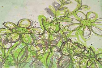 Šály - FLOWERS - ručne maľovaná hodvábna štóla s kvetinovým vzorom. - 10240700_