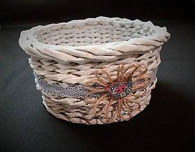 Dekorácie - košíček s patinou a vtáčikom - 10241375_