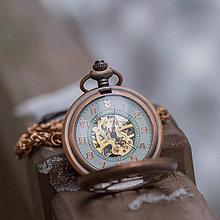 Iné - Mechanické vreckové hodinky s kroužkovanou reťazou (46) - 10240818_