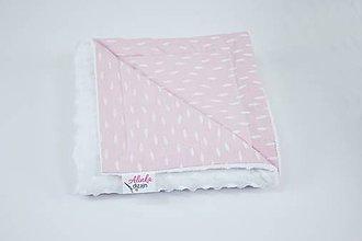 Textil - Minky deka white + ružové pierka 70*100cm - 10241425_