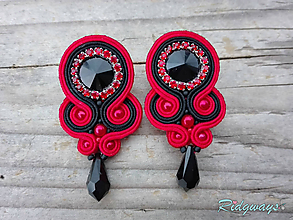 Náušnice - Simple teardrop...soutache (Black/Red) - 10241589_
