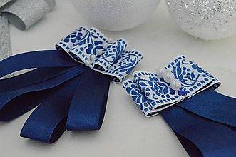 Odznaky/Brošne - Modro biela dámska mašľa - 10241911_