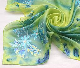 Šatky - Zelený háj..hodvábna šatka - 10241011_
