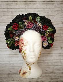 Ozdoby do vlasov - Čierna kvetinová čelenka s hroznom - 10238496_