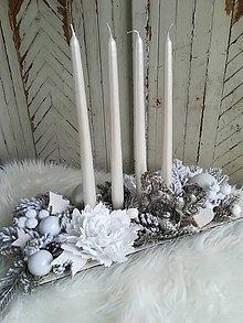 Dekorácie - Luxusná vintage adventná dekorácia biela - 10240968_