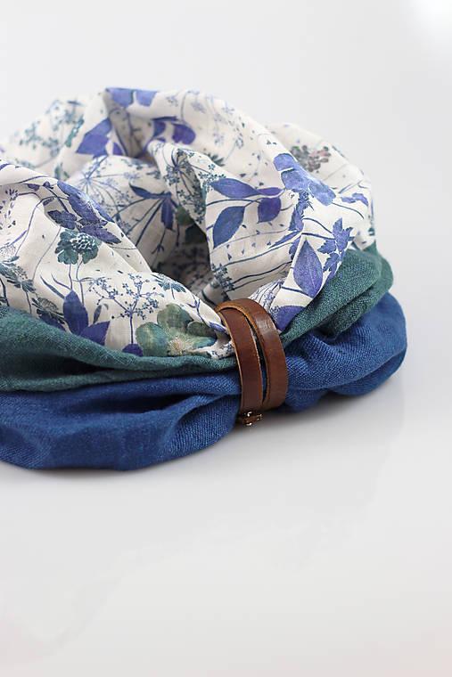 Dámsky exkluzívny modrozelený kvetinový nákrčník zo 100% ľanu