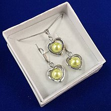 Sady šperkov - Srdiečková sada (žltá) - 10240633_