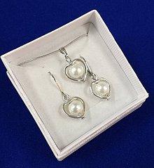 Sady šperkov - Srdiečková sada (biela) - 10240641_