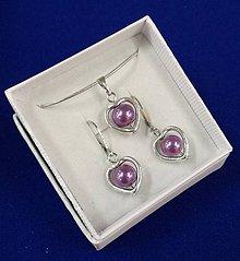 Sady šperkov - Srdiečková sada (fialová) - 10240658_