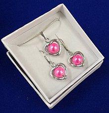 Sady šperkov - Srdiečková sada (ružová) - 10240661_