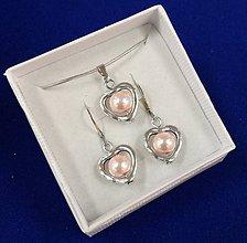 Sady šperkov - Srdiečková sada (ružová svetlá) - 10240663_