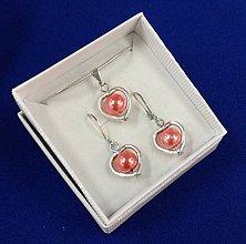 Sady šperkov - Srdiečková sada (červenoružová) - 10240668_
