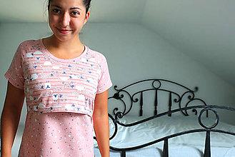 Pyžamy a župany - Nočná košeľa na dojčenie DREAMY / Lososová - 10239527_