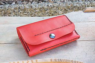 Peňaženky - Kožená peněženka MontMat - červená - 10241616_