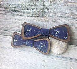 Detské doplnky - Drevené motýliky - otec a syn (Modrotlač) - 10239750_