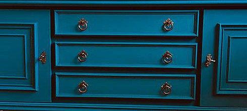 Nábytok - Modrá komoda - predaná - 10241934_