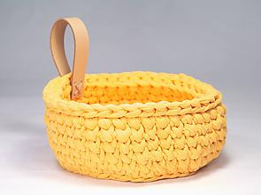 Dekorácie - ŽLTÝ košík s koženým uchom / good mood - 10238846_