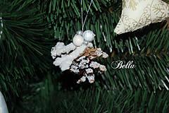 Dekorácie - Vianočná biela zasnežená šiška - 10240283_