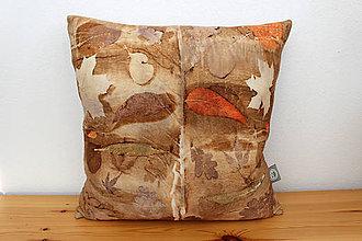 Úžitkový textil - eco-print obliečka orech, 40 x 40 - 10239292_