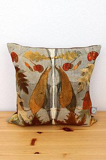 Úžitkový textil - eco-print obliečka kampeškovník a orech, 40 x40 - 10239389_