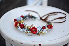Ozdoby do vlasov - Červený vianočný venček - výpredaj - 10238537_