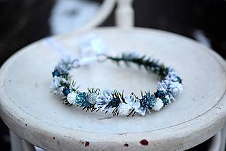 Ozdoby do vlasov - Modrý vianočný venček - výpredaj - 10238522_