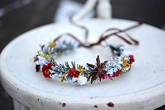Ozdoby do vlasov - Červený vianočný venček - výpredaj - 10238535_