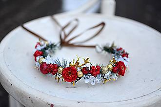 Ozdoby do vlasov - Červený vianočný venček - výpredaj - 10238538_