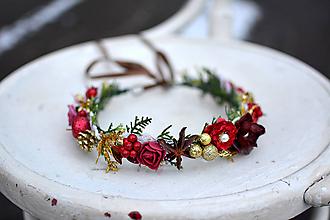 Ozdoby do vlasov - Červený vianočný venček - výpredaj - 10238539_