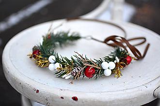 Ozdoby do vlasov - Červený vianočný venček - výpredaj - 10238541_