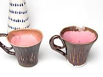 Nádoby - šálka ružovo kovová  kakao - 10239610_