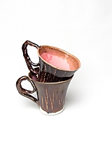 Nádoby - šálka ružovo kovová  kakao - 10239615_