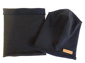 Detské čiapky - Čierny teplučký set - 10241032_