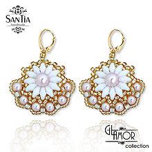 Náušnice - Náušnice: Bielo-strieborné s perličkami (Ag 925) (Zlato-ružové) - 10239175_